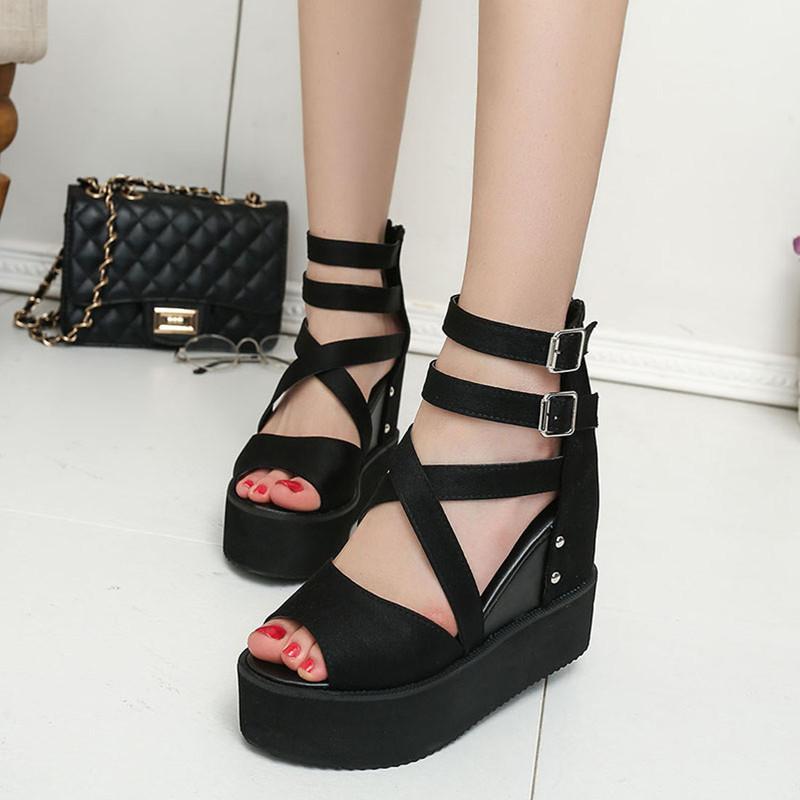 凉鞋夏季新款内增高坡跟鱼嘴高跟女士松糕厚底欧美罗马鞋2019女鞋