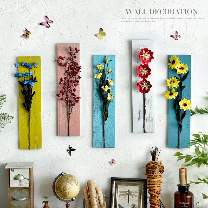 Original Creative Painted New Flower Language Dried Flowers Wood Wall Hanging Decorative Frame Home Background