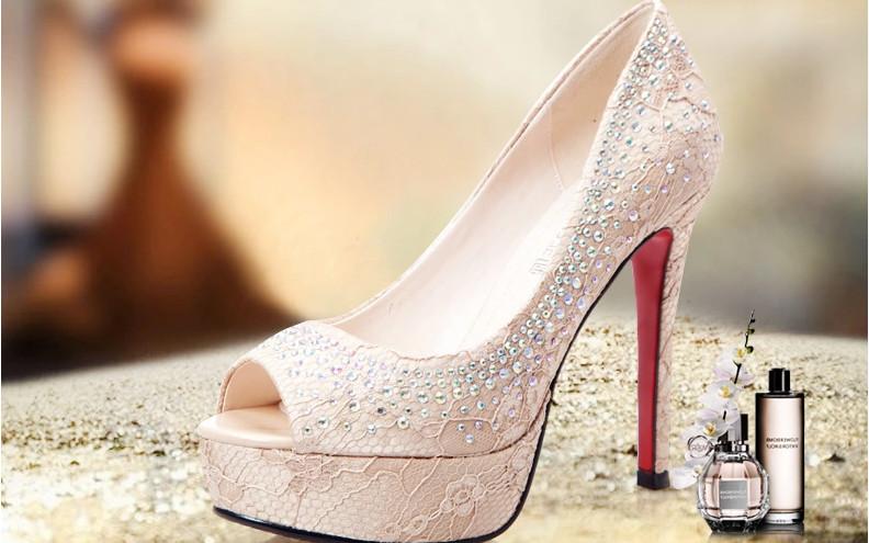 防水臺細跟歐美時尚蕾絲水鉆淺口單鞋