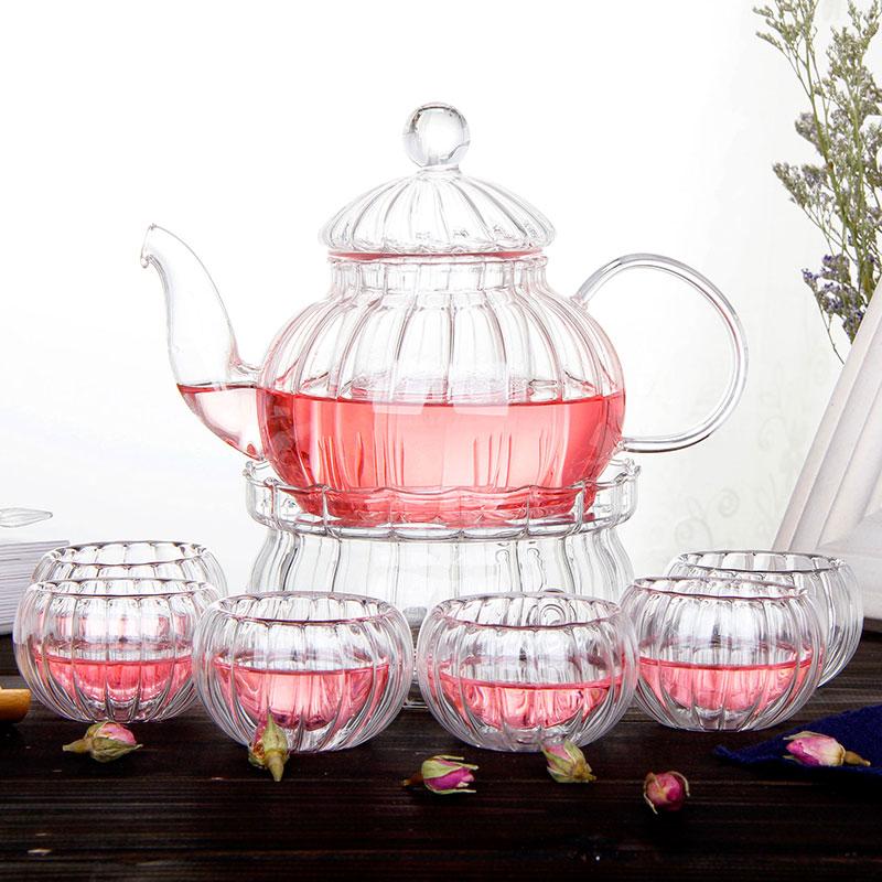 Континентальный пакет цветы чайный сервиз ароматный чай чайный набор фильтрация прозрачное стекло пузырь чайник отопление фрукты камелия чашка