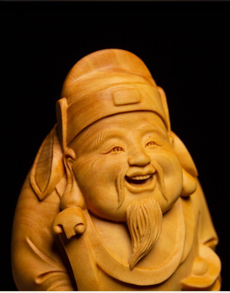 黃楊木招財風水實木掛件雕新刻文玩手把件工藝品新財神爺佛像木雕擺件轉運 木雕GJ-001