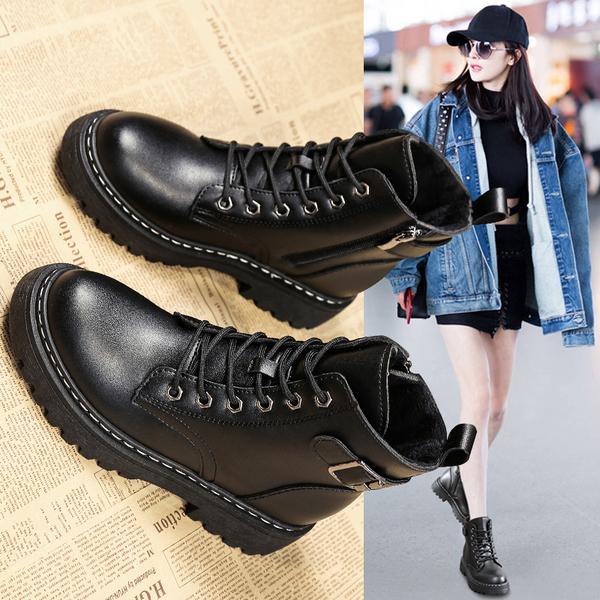 秋冬小短靴网红爆款厚底瘦瘦靴