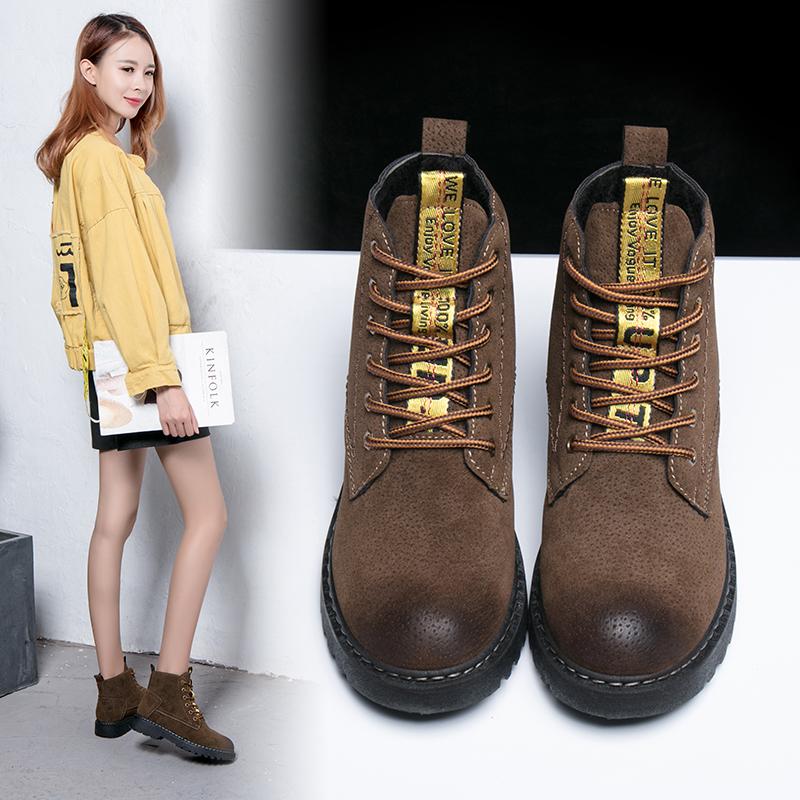 马丁靴女秋冬季短靴圆头系带粗跟女靴舒适保暖短筒靴子女款雪地靴