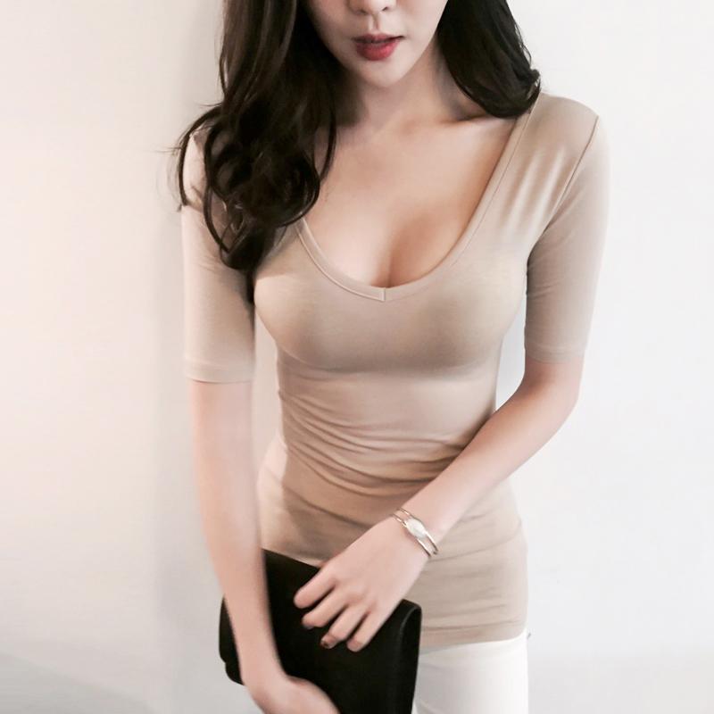 性感女装 短袖t恤女夏紧身圆领莫代尔打底衫修身半袖大码深v上衣