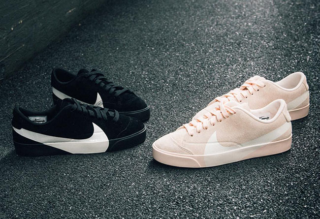 superior quality 690e8 05701 Nike Blazer City Low XS 平价版OW 大钩麂皮黑白粉板鞋AV2253 ...