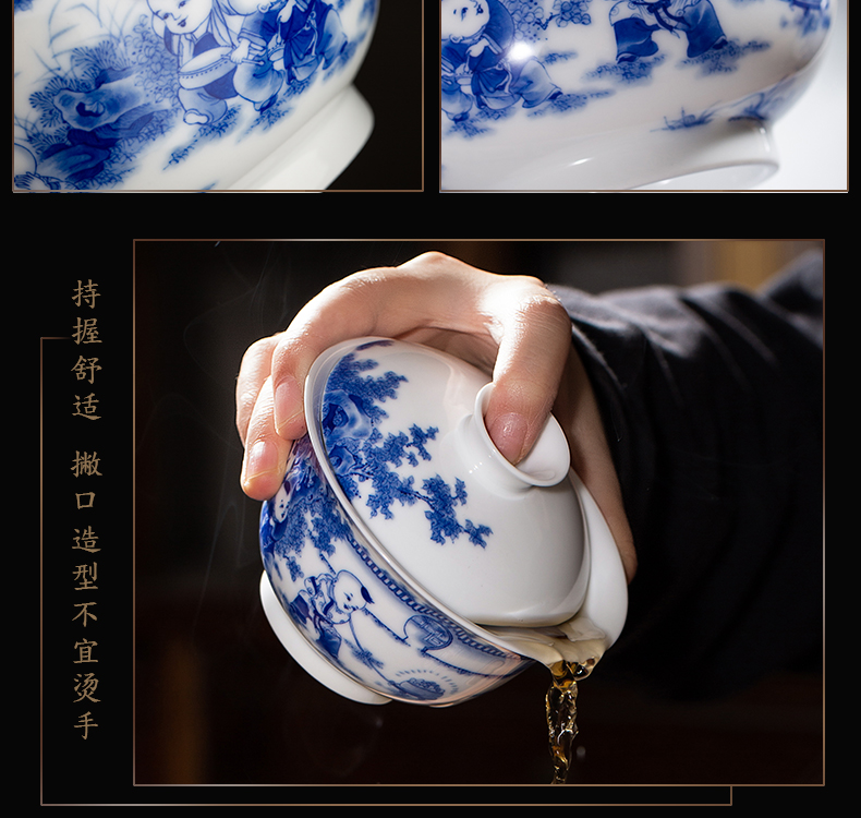 The Owl ring up with jingdezhen blue and white jade mud hand - made tea set the lad spring tea tureen bowl from the three cups