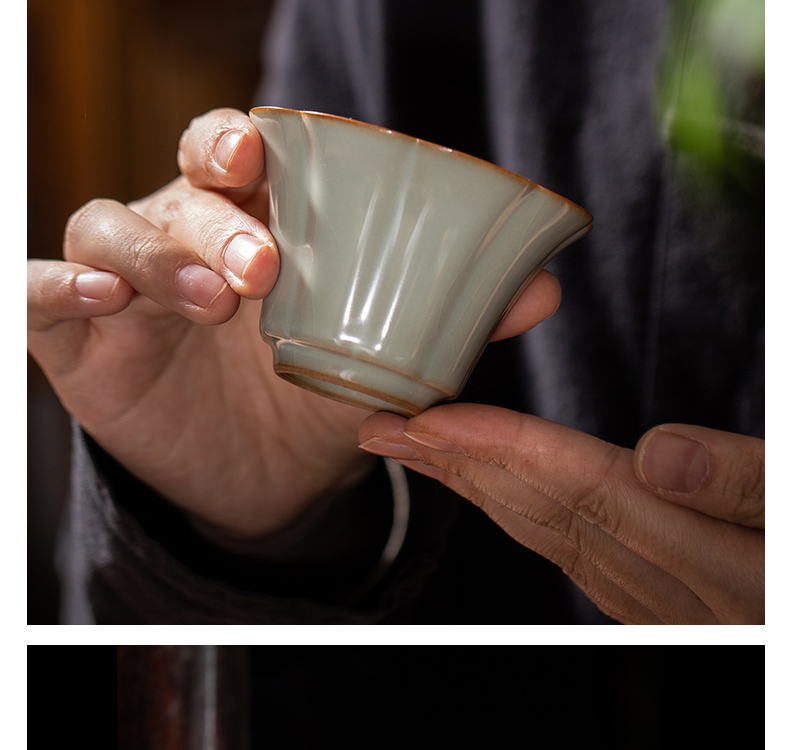 Owl up jingdezhen tea set your up manually open the slice porcelain glaze master cup single CPU kung fu tea cup flower cup