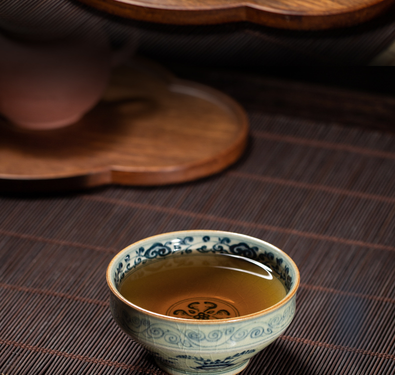 Open the slice owl up with porcelain clay glaze maintain tea archaize master kung fu tea cups cup yuanyang drawing lines