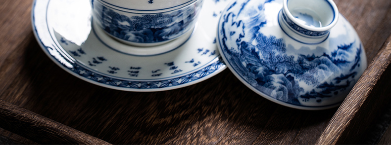 The Owl up jingdezhen blue and white checking ceramic tea set maintain tureen landscape water chestnut tea cup large bowl