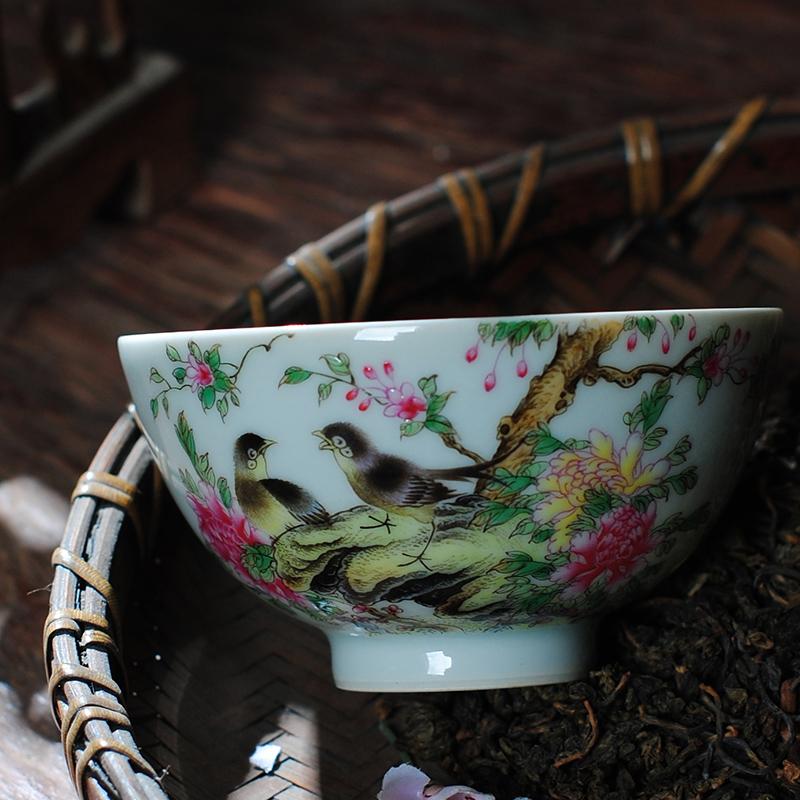 【 7.5 】 jingdezhen pure manual hand - made heavy powder enamel master sample tea cup