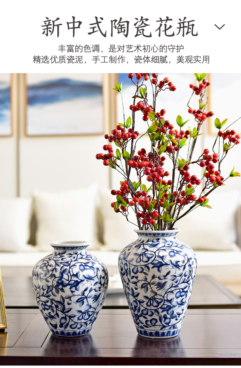 The new Chinese blue and white porcelain vase I sitting room table, TV ark, porch simulation flower art flower arranging flowers, furnishing articles
