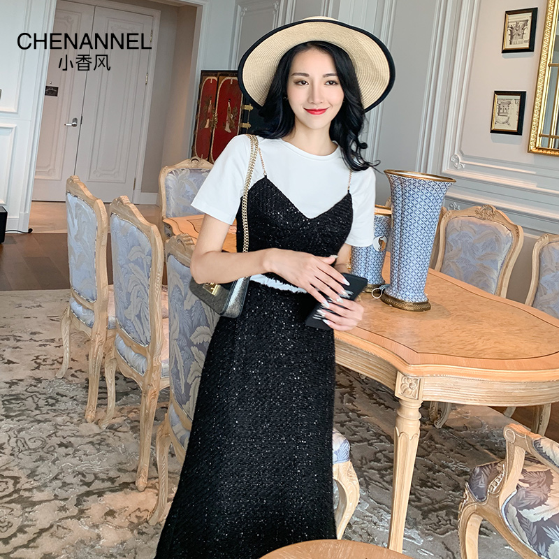 Small fragrant wind dress female 2020 new summer temperament sweet thin waist skirt three-piece chenannel