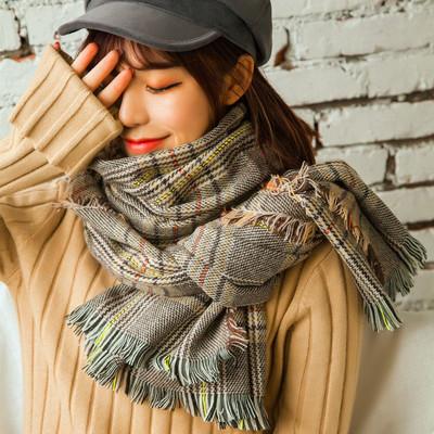 冬季英伦风千鸟格子仿羊绒女士围巾