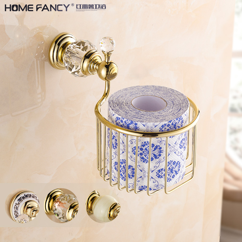 European-style crystal gold napkin holder copper cosmetic room European rose gold napkin basket tissue box roll toilet paper holder