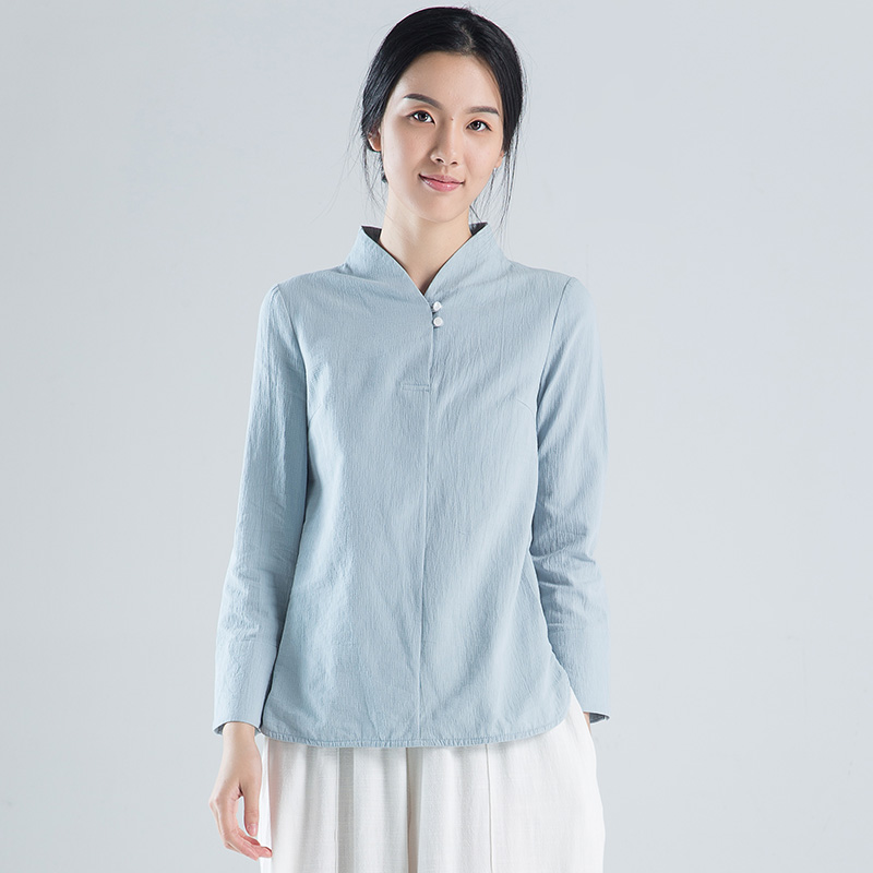 31f4c353983 Improved short cheongsam shirt long-sleeved Chinese style Tang suit Han Chinese  shirt loose Zen tea Women spring and autumn