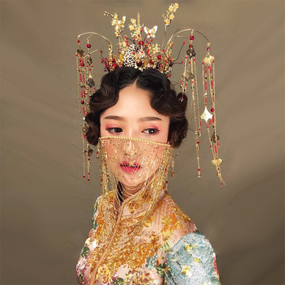Chinese costume hair accessories Luxurious Round Ancient Xiuhe Dress Headdress Bride's Chinese Phoenix Crown Marriage Headdress Retro Modeling Accessories