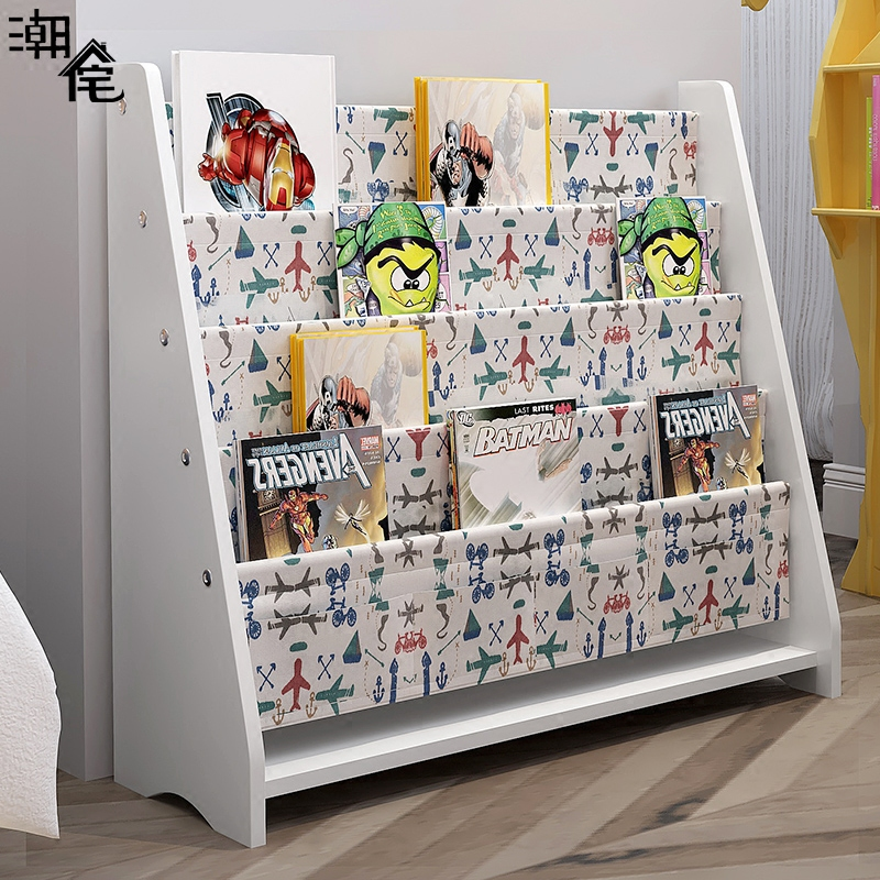 Baby Bookshelf Childrens Bookcase Kindergarten Painting Home Map Cartoon Toy Storage Rack