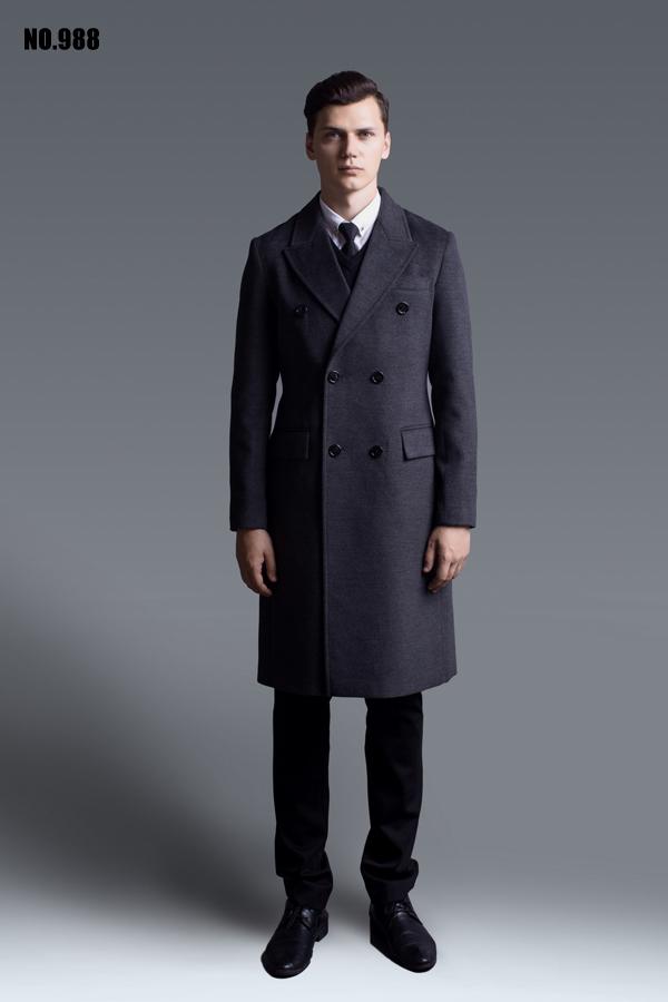 Len áo khoác nam 2018 mùa xuân và mùa thu mới trạm Châu Âu đôi ngực dài tay dài cashmere coat kích thước lớn SỐ 988
