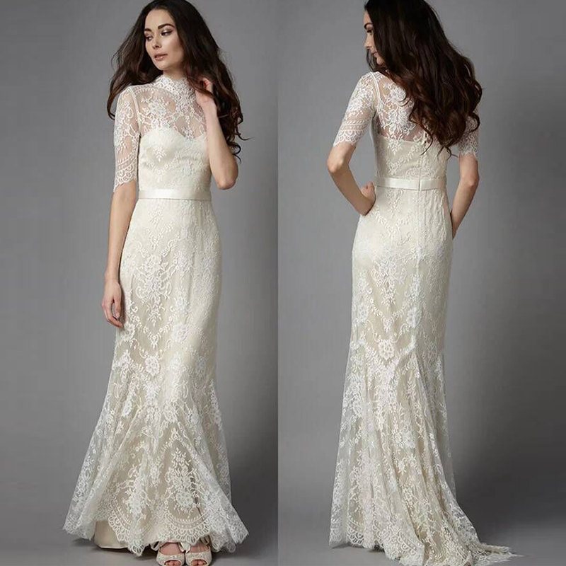 New Retro Stand Collar Fishtail Sleeve Elegant Lace Bride Out Yarn Sen Outdoor Wedding Dress Light