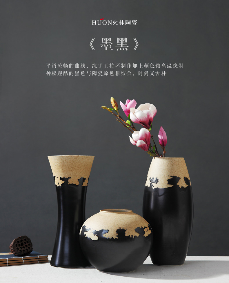 Jingdezhen ceramic POTS coarse pottery retro new classic dry flower vases, furnishing articles sitting room flower arranging creative household act the role ofing is tasted