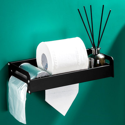 Toilet punch-free tissue box rack toilet bathroom roll paper holder creative multi-functional drawer wall-mounted