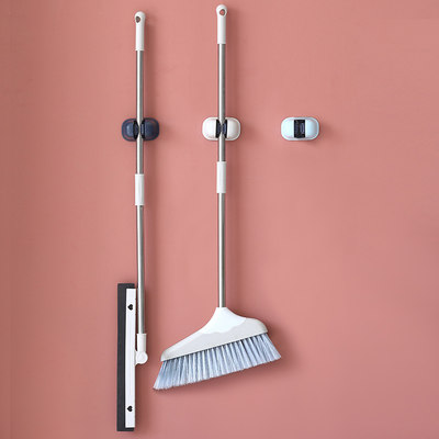 Mop clip free punching strong load-bearing hook wall storage rack bathroom bathroom toilet broom rack