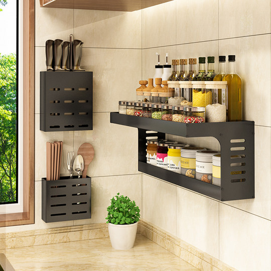 Kitchen shelf wall hanging-free punching wall seasoning supplies household big two-layer storage artifact hanging shelf
