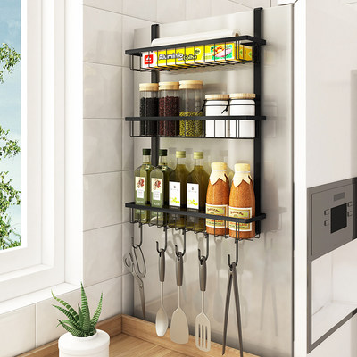 Refrigerator shelf stainless steel free punch kitchen seasoning home side rack storage storage wall hanging artifact