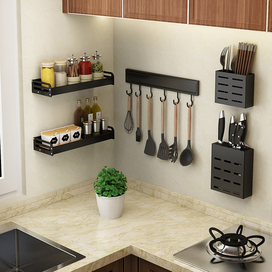 Wall-free kitchen hanging hook wall wall wall hanging rod set kitchen utensils spoon shovel storage rack