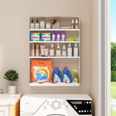 Washing machine rack above the balcony shelf toilet side wall wall-free punching vanity toilet storage rack