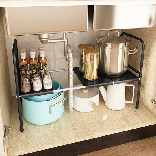 The kitchen sink telescopic shelf countertop cabinet hierarchy holder storage storage pot rack