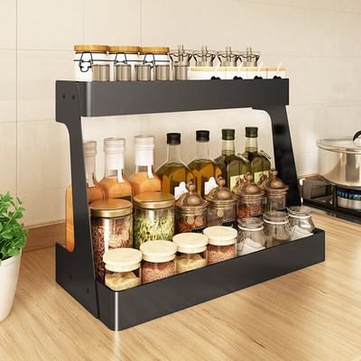 Kitchen seasoning bottle, home desk with multi-function seasoning storage rack multilayer storage kitchen dried shelf