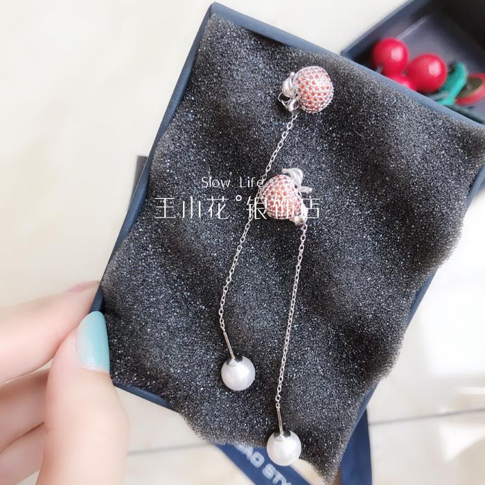珍珠正生纯银925银个性吊网耳环长款气质红苹果坠香港耳钉女银饰