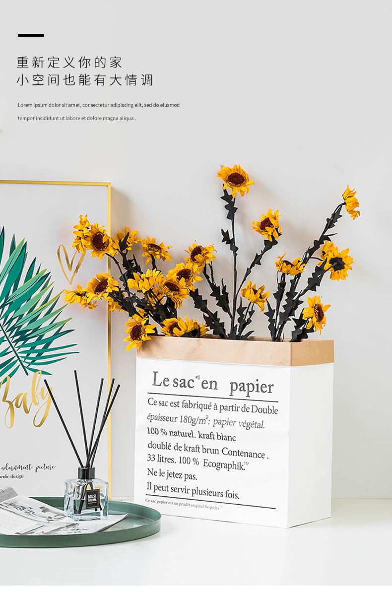 欧式仿真向日葵长支落地花瓶花桶插花花艺假花绢花干燥花装饰摆饰详细照片