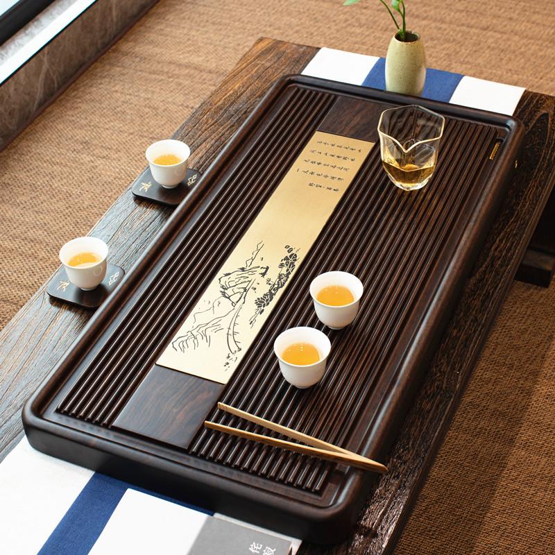 Whole ebony tea tray Solid wood tea table tray Small household tea sea drainage tea set Light luxury modern