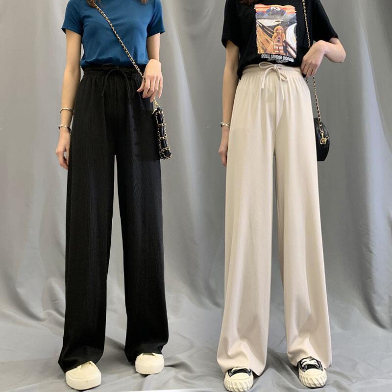 黑色阔腿裤女夏天2020年新款高腰垂感长薄款抖抖冰丝拖地凉凉裤s