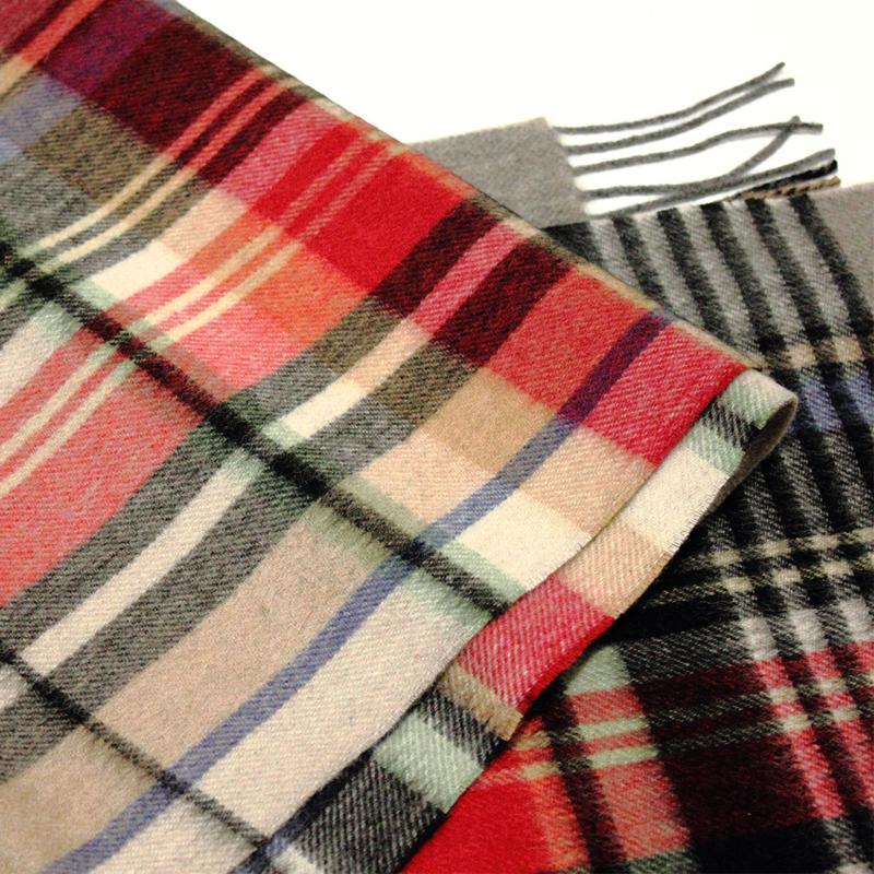 英伦格子100%阿尔巴斯市纯山羊绒围脖紫绒水男女波纹冬围巾