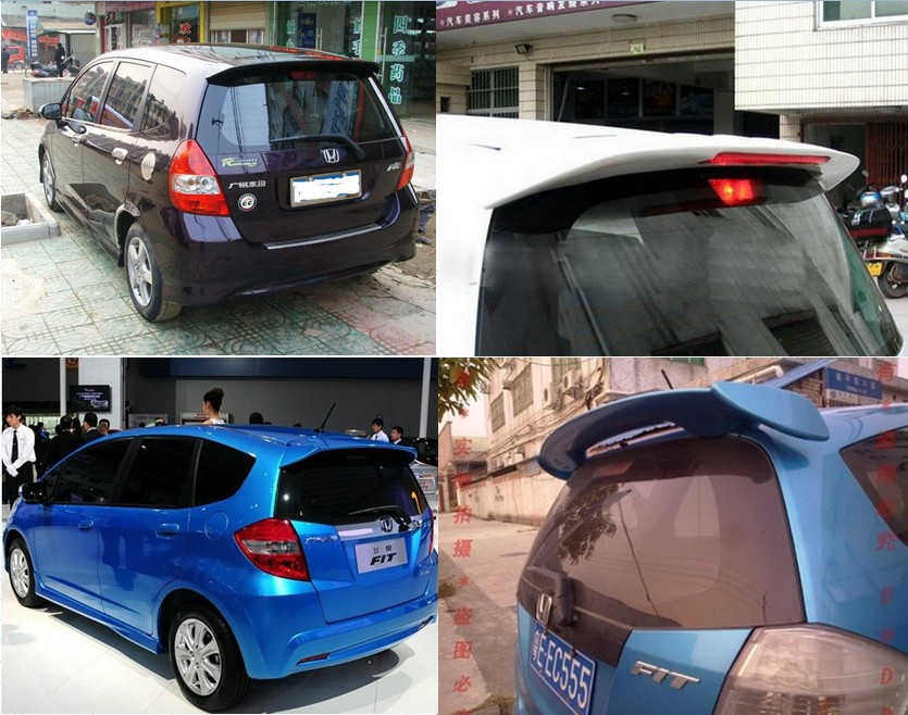 Honda old Fit tail 03-13 Fit Hatchback wing Old Fit dedicated ABS with lights modified wind top wing