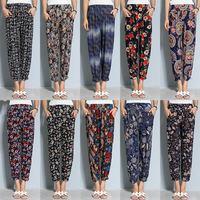 Мать брюки свет Женские тонкие летние брюки стиль Средние и пожилые цветочные штаны большой размер Свободные женские брюки прямые Девятый бабушка штаны