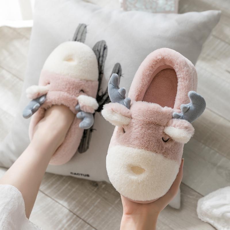 冬天棉拖鞋女可爱包跟毛绒家居情侣厚底冬季月子鞋室内保暖毛拖鞋