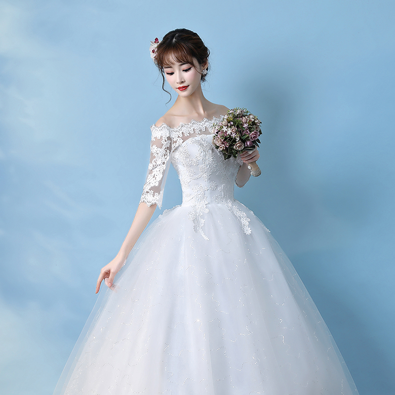 One-shoulder wedding dress 2018 new Korean bride tail long-sleeved ...