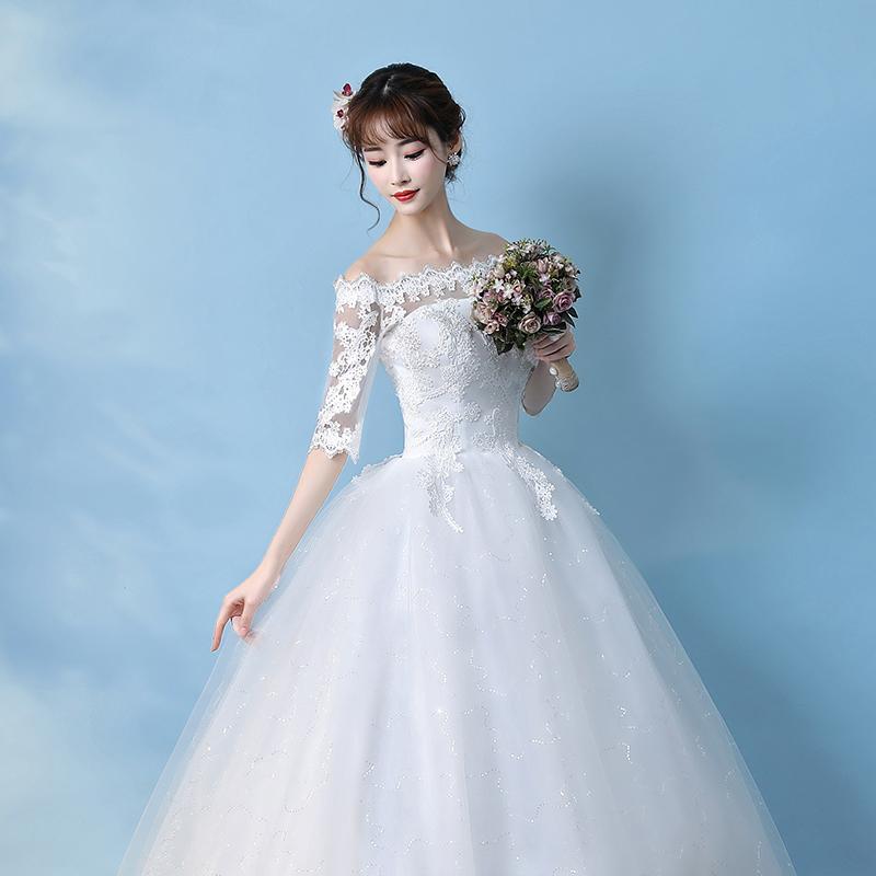 One-shoulder wedding dress 2018 new Korean bride tail long-sleeved ...