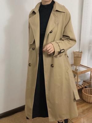 初秋外套新款秋季宽松中长款大衣英伦风小个子过膝风衣女