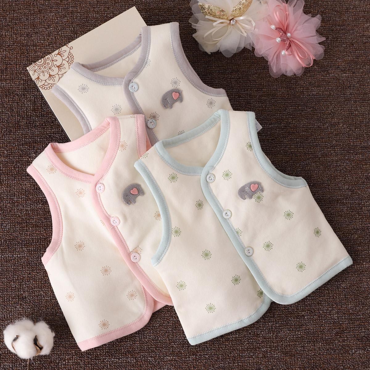 0-3个月新生婴儿秋冬保暖马甲6男女宝宝时尚坎肩对襟开衫夹棉背心