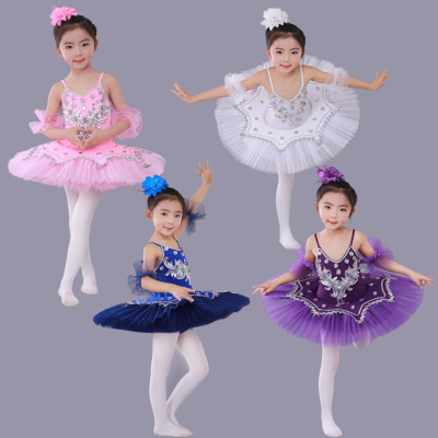 Girls Ballet Dance Dresses Children's Ballet Skirt Hanging Swan Ballet Costume Performance Dress Princess Pengpeng Skirt Performance Dress