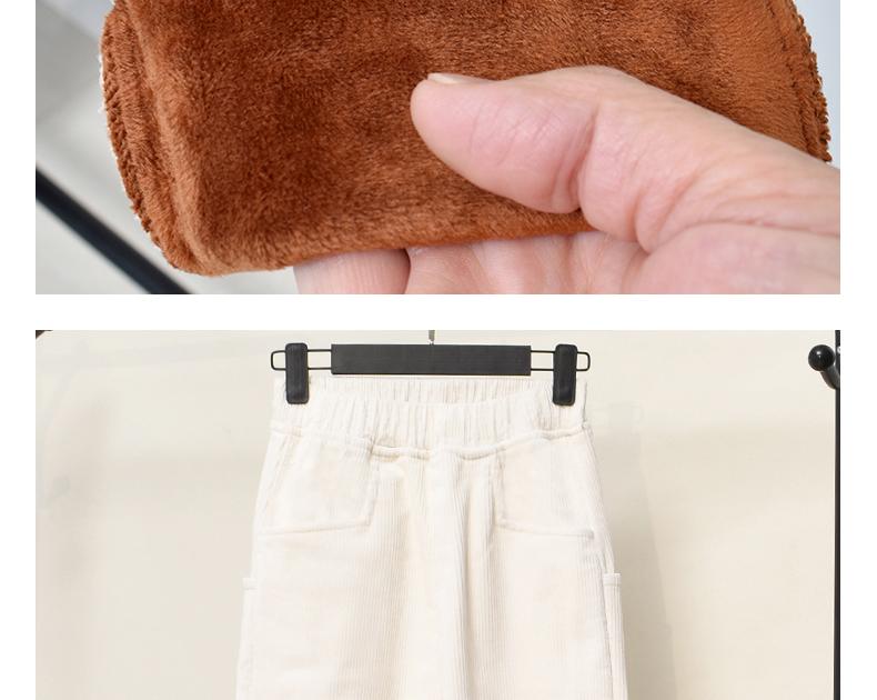 素颜布衣加绒加厚灯芯绒裤子女高腰宽松弹力松紧腰条绒哈伦裤长裤商品详情图
