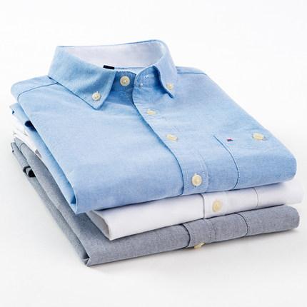 意宾男士夏季纯色纯棉短袖衬衫