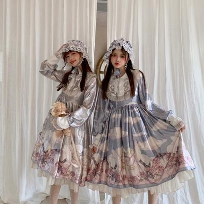 taobao agent Mori girl sankousan original angel rose garden lolita reflective long-sleeved op Japanese dress