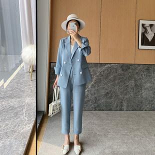 Не центр сделанный на заказ элегантный через посещаемость  2021 весенние модели темперамент был белый костюм пальто женщина юбка брюки два рукава