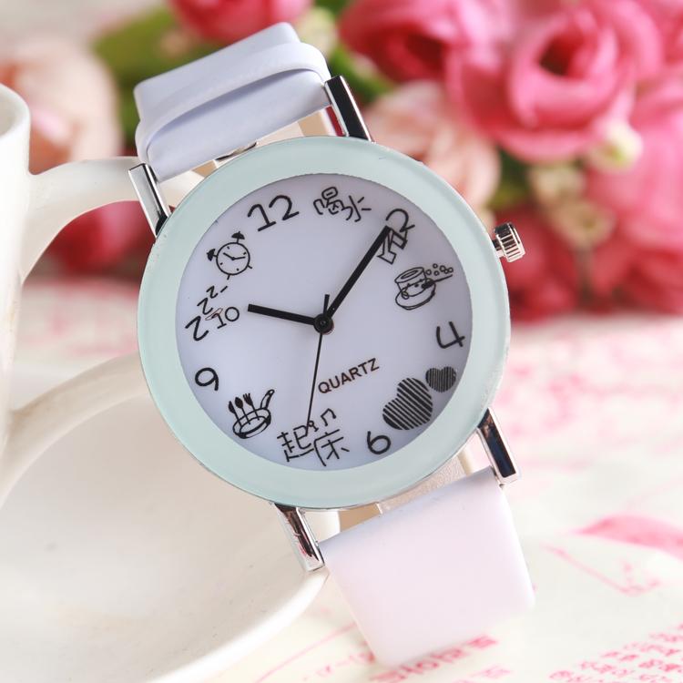 手表女款清新韩版简约皮带防水白色情侣石英电子表高初中学生手表